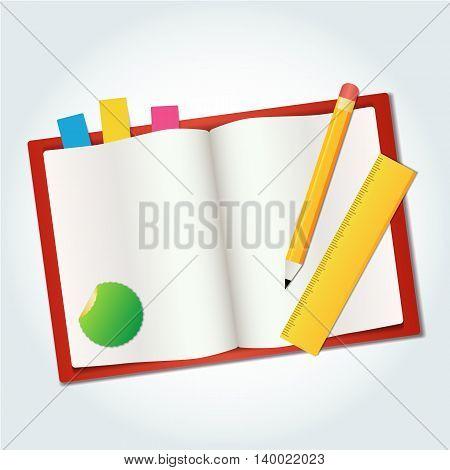 vector blank book icon pen measure template