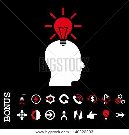 Genius Bulb vector bicolor icon. Image style is a flat iconic symbol, red and white colors, black background.