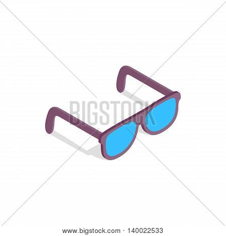 Sunglasses icon in isometric 3d style on a white background