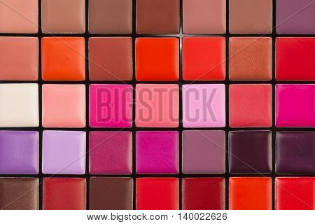 Colorful lipstick palette with a lot of different colors.