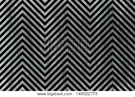 Silver Stripes On Black Background, Chevron.