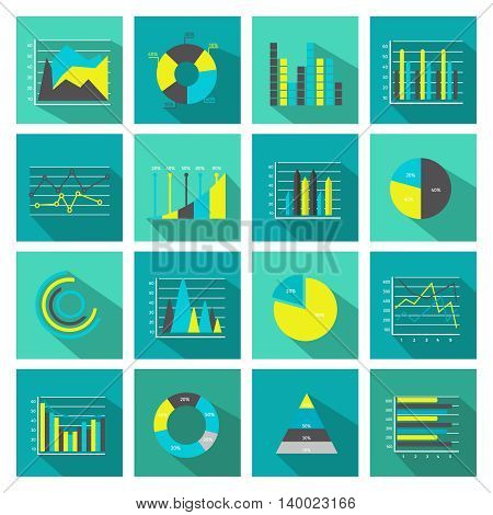 Colored and isolated graphs flat icon set square or in buttons form vector illustration