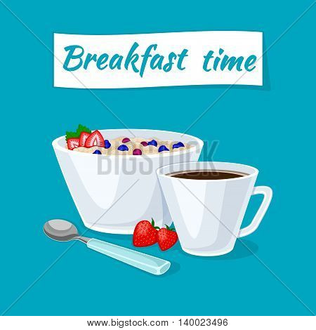 Healthy breakfast. Oatmeal porridge in the bowl with berries and strawberries. Hot coffee. Vector illustration.