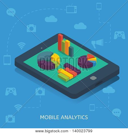 Mobile analytics isometric design with round diagrams and bar charts at smartphone on blue background vector illustration