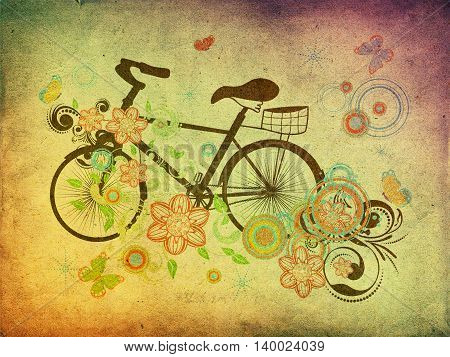 Bicycle And Floral Ornament Grunge