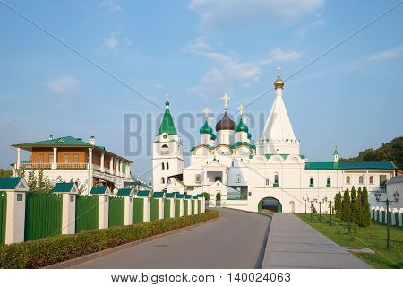View on the old Pechersky Ascension monastery, evening in august. Nizhny Novgorod, Russia