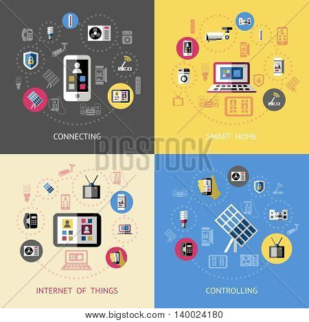 Smart home compositions with four icon set on connecting smart home internet of things and controlling themes vector illustration