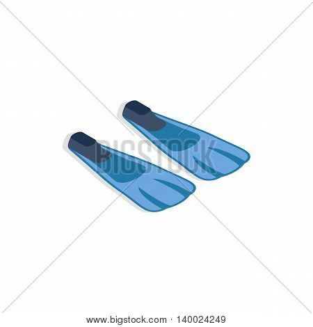 Blue flippers icon in isometric 3d style on a white background
