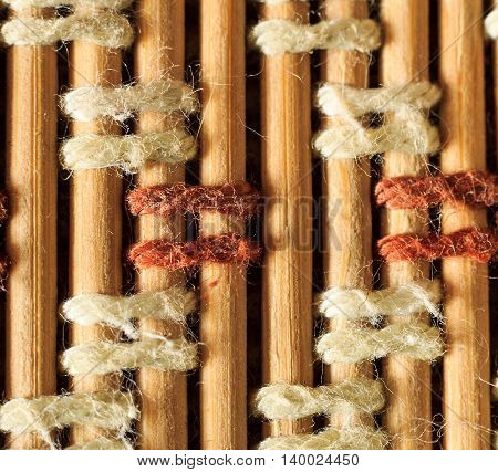 Texture Of Old Bamboo Branches With Threads.