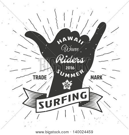 Surfing hand poster with ribbon and title Hawaii wave riders summer in pop art style vector illustration