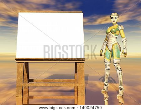 Computer generated 3D illustration with easel and female robot