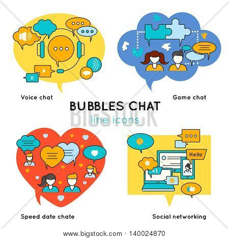 Bubbles chat linear compositions with voice conversation game communication speed dating social network isolated vector illustration