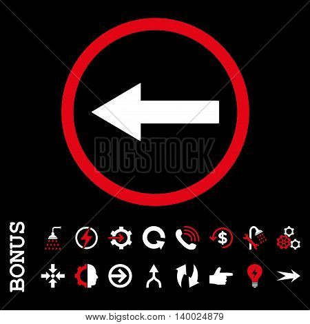 Left Rounded Arrow vector bicolor icon. Image style is a flat pictogram symbol, red and white colors, black background.