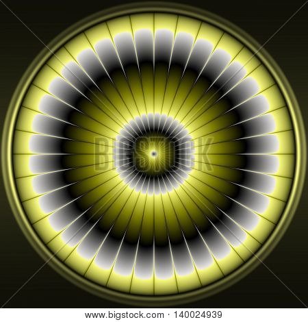 Illustration with abstract and modern gold flower - decorative circular pattern