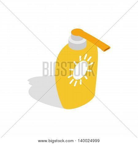 Bottle of suntan cream icon in isometric 3d style on a white background