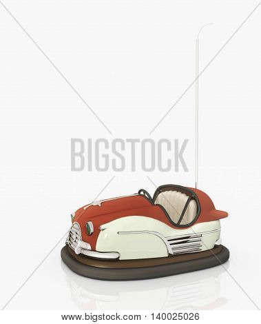 Computer generated 3D illustration with a bumper car against a white background