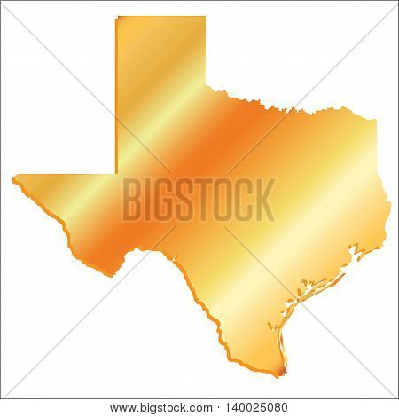 3D Texas (USA) Gold outline map with shadow