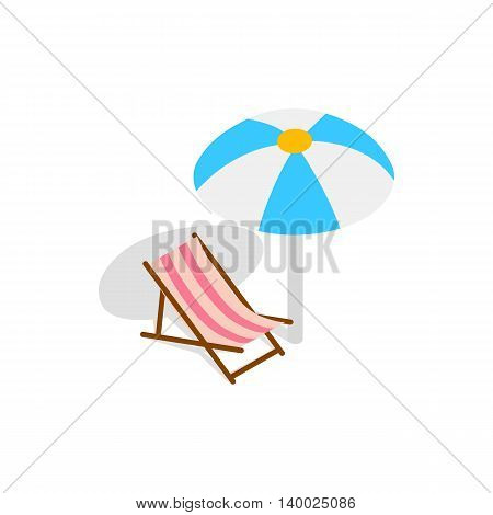 Beach chaise lounge with umbrella icon in isometric 3d style on a white background