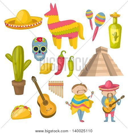 Mexican icon set with traditions local residents and distinctive features of the country vector illustration