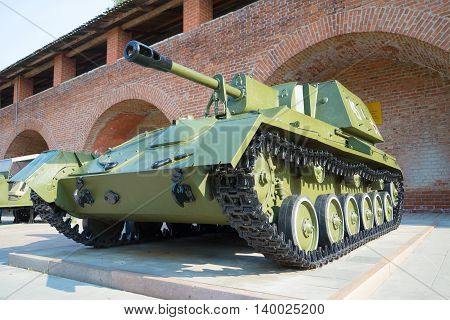 NIZHNY NOVGOROD, RUSSIA - AUGUST 27, 2015: Self-propelled gun SU-76. An exhibit of military equipment in the Kremlin