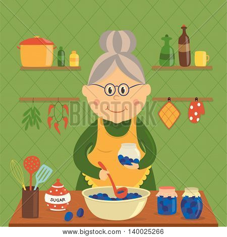 Housewife cooking jam design with plums in bowl and jars sugar utensils on wood table vector illustration
