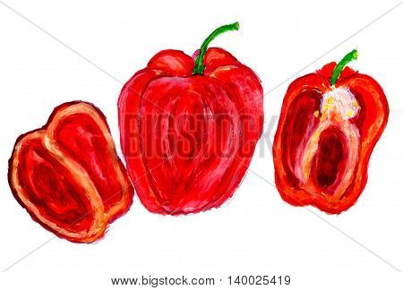 Set of three watercolor peppers on white background.