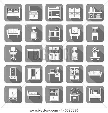 Furniture, icons, monochromatic, gray.  Vector icons of modern furniture for home and office. White image on a gray background with shadow. A flat image.