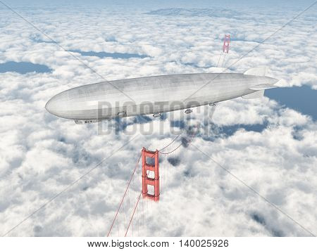 Computer generated 3D illustration with an airship over the Golden Gate Bridge in San Francisco