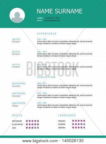 Professional simple styled resume template design with green teal headings.