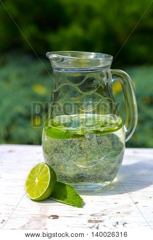 Healthy vitamin water with lime and mint
