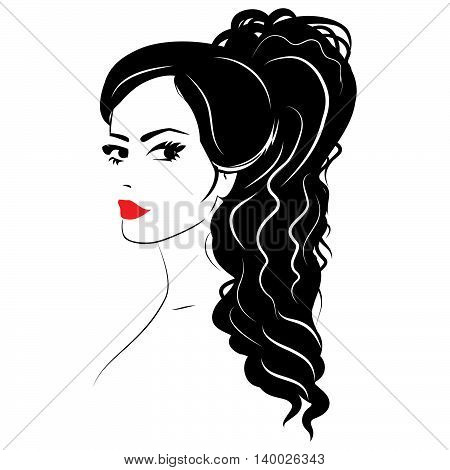 Beauty girl face sketch woman face vector portrait. Hair wave.