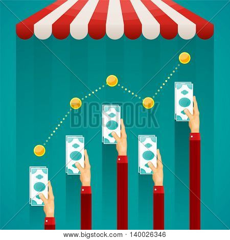 Online Shop Trade Vector Infographics In Flat Style