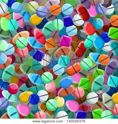 Vector Background With Various Medical Pills In Flat Style