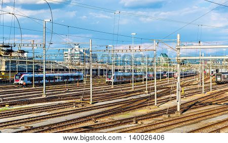 View of Basel SBB railway station in Switzerland