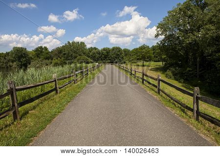A the path along Marlu Lake in New Jersey