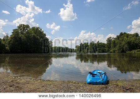 A kayak sits on the shores of Marlu Lake in New Jersey