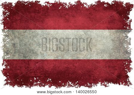 Austrian national flag with distressed worn textures and edges