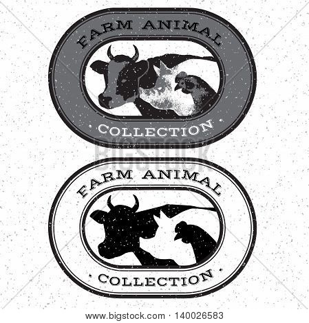 Set of farm animals monochrome isolated hand-drawn for markets and shops