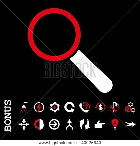 Search Tool vector bicolor icon. Image style is a flat pictogram symbol, red and white colors, black background.