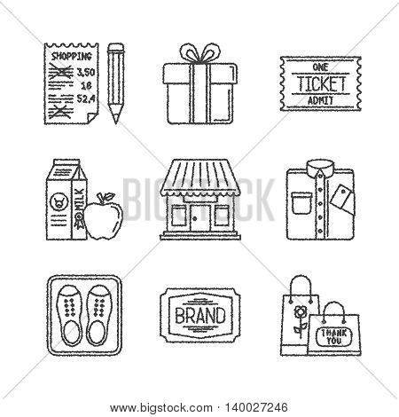 Set Of Vector Shopping Icons In Sketch Style