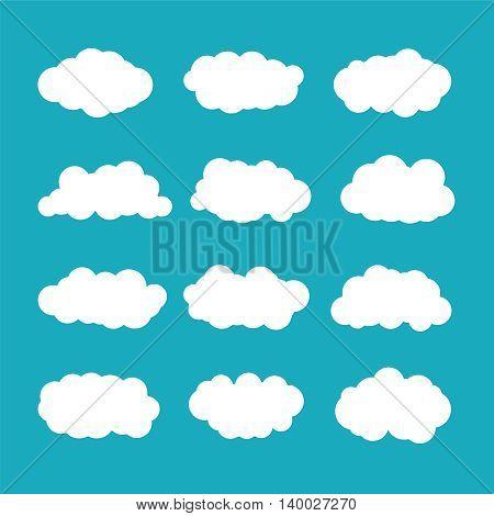 Vector Cumulus Clouds Set In Flat Style
