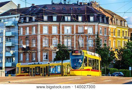 Basel, Switzerland - June 9, 2016: Stadler Tango tram in the city centre of Basel.