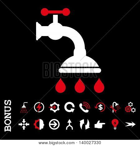 Shower Tap vector bicolor icon. Image style is a flat iconic symbol, red and white colors, black background.