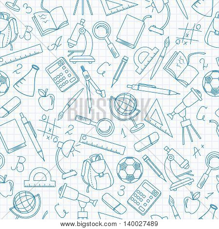 Seamless pattern on the theme of the school a simple contour icons dark blue outline on a light background in a cage