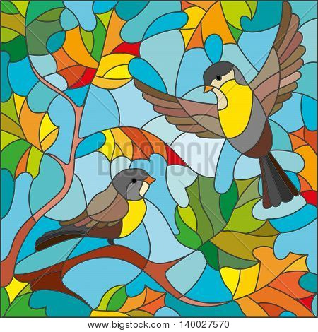 Illustration in stained glass style on the theme of autumn two Tits in the sky and maple leaves