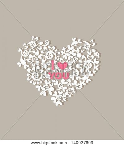 Greeting card with beautiful paper decorative heart