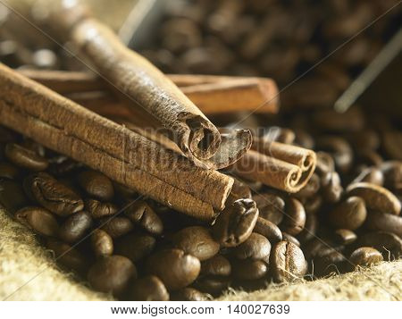 scoop of roasted coffee with cinnamon sticks