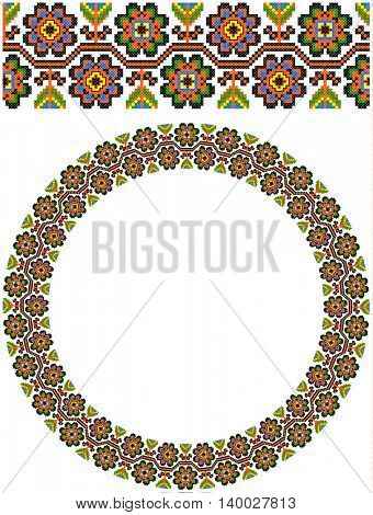 embroidered good like handmade cross-stitch ethnic Ukraine pattern. round ornament of it. template for various goods