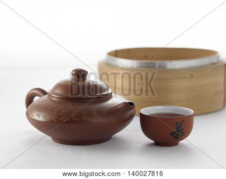 chinese tea set with tim sum steamer
