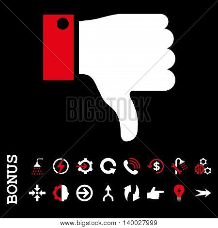 Thumb Down vector bicolor icon. Image style is a flat pictogram symbol, red and white colors, black background.